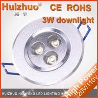 [Huizhuo lighting] wholesale 3W , 4w , 5w , 6w , 7w , 9w , 12w , 15w led down light non dimmable downlight 3w led downlight