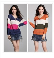 Free Shipping,2013 New hot,women fashion sweet strip hollow knitted cardigan sweater,wome's knitting Pullover/cardigans,2colors