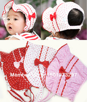 1 piece Infant Newborn Girl Baby Polka Dot Sun Hat Cap Bow Knot Three Color Pink Red White Summer 0-9 Months Free Shipping