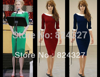 2013 New Top Fashion Women Elegant Peter Pan Collar Formal Pencil Vintage Pinup Bodycon Fitted Party Shift Sheath Dresses  D0090