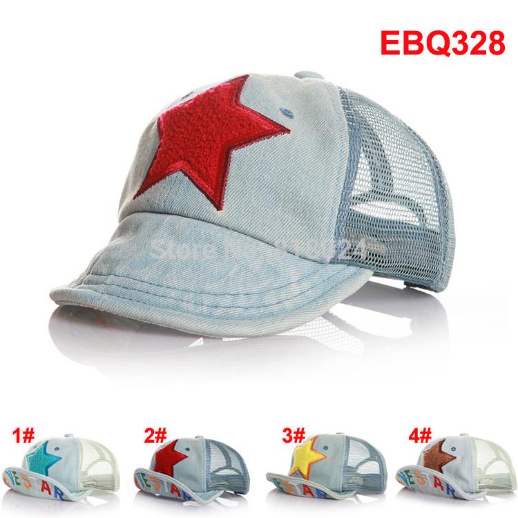 Brand Name 2014 Letter Take Children Baseball Caps with Mesh Five Stars Baby Boys Girls Summer Sun Hats Kids Visor Free Shipping(China (Mainland))