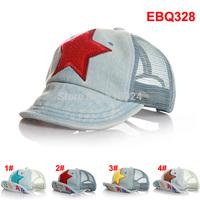 Brand Name 2014 Letter Take Children Baseball Caps with Mesh Five Stars Baby Boys Girls Summer Sun Hats Kids Visor Free Shipping