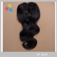 "DF Hair:Cheap Brazilian Human Hair, Machine Frontal Top Closure 4""x4"", Free Style,10""-20"" Body Wavy 3pcs/lot, #1b No shedding"