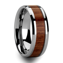 Mens Tungsten Ring w/ Rosewood Inlay Wedding Band Size 6 - 13 (#NR05W)(China (Mainland))