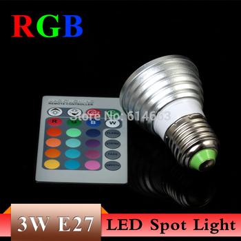 5PCS/LOT 3W E27 RGB LED Light spot bulb 16 Color change +24key IR Remote Controller memory effect Freeshipping