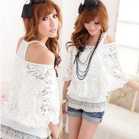 2014 Korean Style 2pcs/set (T-Shirt + Tank) Women Ladies Off Shoulder T-Shirt Casual Batwing Sleeve Lace Tops Zanzea Fashion