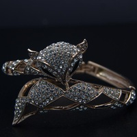 Hot sale Italina Austria Crystal with18K Gold Plated Fox Bangles,Trendy Animal Charm Ladies Bracelets Freeshipping