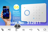 G5 Touch Keypad GSM Phone SMS Wireless Home Security Burglar Alarm System RFID Access 315Mhz DHL/Fedex shipping