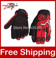 Motocross Gloves Racing Gloves Motorcycle Motorbike Pro-biker Full Finger Black/Red/Blue/Orange CE-06 Free Shipping