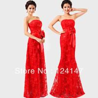 AQ Fashion red lace formal dress tube top dress long marry design bridal evening dress
