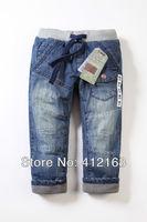 Plus velvet winter Brand z 6889/6844 Wholesale fall denim Pants Kids 2013 new clothing boys girls cotton freeshippingThickening