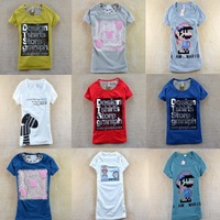 Free Shipping  new 2014Fashion Good Quality Cotton T Shirt Women Tops Round T-shirts 50color for choose