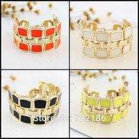 Statement Bracelets Colorful Enamel Hollow Out Gold Color Alloy Chain Link Bracelets Bangles for Women Wholesale