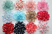 "20pcs/lot 3"" handmade polka dot fabric flowers,diy baby kids girls fashion hair flower accessories wholesale"