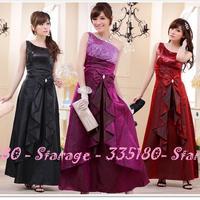 Plus Size Long Oblique One Shoulder Evening Dresses Sequins Maxi Long Prom Dress With Bows Black/Red/Purple L~XXXL 9202