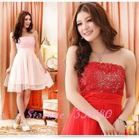 Plus Size Romantic 3D Rose Slim Waist Tube Top Gauze Bridesmaid dresses short Formal dress for girl Banquet/Party/Wedding 3109