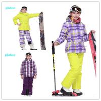 2014 new phibee ski suit girls clothing set cotton-padded jacket windproof child snowboard jacket+pants 2pc set free jacket