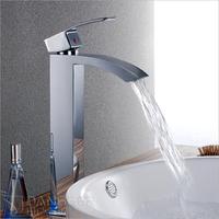 Free Shipping European Design High Single Handle Water Saving Tap Bathroom Waterfall Basin Faucet Mixer