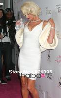 2013 hot sell women's v neck HL Elastic Knitted Bandage Dress White Ladies Party celebrity Dress evening dress
