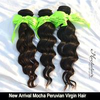 "7A Unprocessed Virgin Hair, Virgin Peruvian Hair Wavy,Mocha Hair Loose Wave Mix Length 3pcs/lot Natural Color,12-30"""
