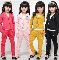 1set Fashion elegant kids female child children's clothing girls clothes Girls temperament Coat + pants suit set c0071