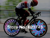 Freeship 2PCS Colorful Rainbow Wheel Signal Lights LED bike wheel light 32 LED 32-pattern include BATTERIES,LED Bike Spoke light