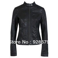 Famous brand Fashion Europe&New york trends coat single Fit body  washing collar PU code Leather Motorcycle woman bicycle Jacket