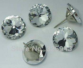 2PCS 30mm Home Crystal Upholstery Sofa Headboard Decorative Buttons Nails Wall Decor Furniture Bedroom Accessory