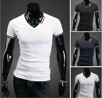 FREE SHIPPING Nwt New Slim Sexy Deep V Neck Fit Top Tee Mens Casual T Shirts US Size S M L XL