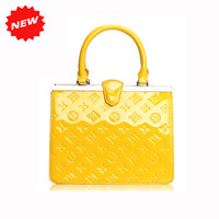 2013 New Arrival Fashion Women Handbag Genuine Patent Leather Designers Brand Tote Messenger Embossing OL Bag W/ Chain,Q0357