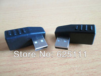 Freeshipping Pair Right + Left angle 90degree USB 2.0 TYPE A Male to Female connector adapter