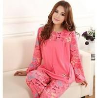 Autumn Winter Spring Long-sleeved Pajamas Lovely Lady Home Sleep Night Clothes Tracksuit sleepwear Pajamas women Plus Size XXXL