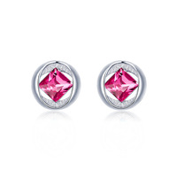Promotion Round Pink Austrian Crystal Stud Earrings Fashion White Gold Plated Studs for Women S Jewelry Accessories