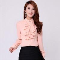 Ruffles Blouses Womens Clothing 2015 Ladies 3 Colors Ruffle Collar Flounced Plus Size Sheer Long-sleeve Chiffon Office Shirts