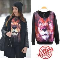 New 2014 Plus Size Women Winter Coats Hot Selling The Tiger Hoodies Long Sleeve Pullover Women's Animal Hoodie Sweatshirt Sale