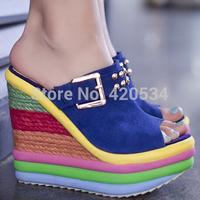 {D&T}2015 New Women's Sandals Genuine Leather Plataforma Sandalias Gladiator Flip Flops Summer Women's Shoes Free Shipping