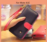 2014 Hot Sale Contrast color Leather wallet/pouch/Bag case for Motorola Moto E XT910 XT925 XT926 DROID ATRIX RAZR MAXX Moto X/G