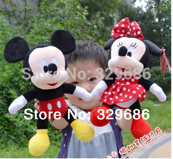 Promotion !New Hot  30cm 1 pcs Lovely Mickey Mouse And Minnie Stuffed Animal girls doll plush toys for children Gift baby toys