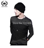 Black And Gray Stitching XL T-Shirt Men Brand O-neck Long Sleeve Cotton Autunmn T Shirt Men 8.19 Sale New Fashion style