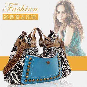 Wholesale 2015 hot new national trend bag one shoulder women's handbag large rivet messenger bag canvas women bags free shipping