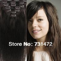 "15"" 18"" 20"" 22""Long Straight #2 Dark Brown 100% Brazilian Human Hair Clip in Extensions 7pcs 8pcs 70g 80g 100g Free Shipping"