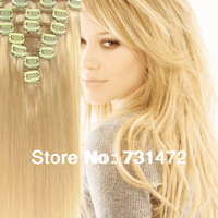 """Free Shipping 15""""-22"""" 7Pcs Length Clip In Brazilian Human Hair Extensions Remy  Hot Accessories #24 Light Honey Blonde70g  100g"""