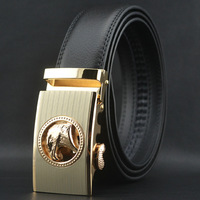 Men's fashion Brown genuine leather Auto lock steel buckle belt waist belt #P0513
