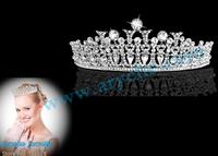Free Shipping,zinc alloy Crown,Bridal Wedding Accessories Headband Large Austrian Rhinestone Veil Tiaras Pageant Crown, Party