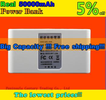 Hot sell! external battery power bank charger 50000mAh phone backup battery Free Shipping!