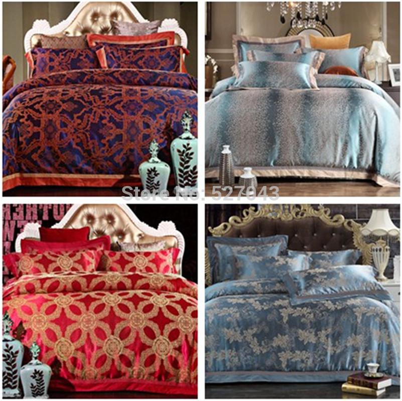 Nova 2014 conjunto de luxo Tencel em cetim e seda Jacquard bordado em miçanga conjunto de roupas de cama em linho/conjunto completo de lenções/ Queen/ tamanho King 29 modelos(China (Mainland))