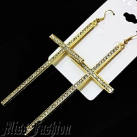 NEW FASHION HOT BASKETBALL WIVES POPARAZZI BIG Oversized Rhinestones CROSS EARRINGS