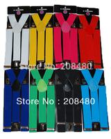 """Free shipping-Men's Unisex Clip-on Braces Elastic Suspender 3.5cm Wide """"20 colors mix"""" Suspenders Wholesale & Retail"""