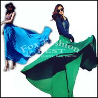 Chiffon long Skirts womens new fashion 2015 summer spring plus size maxi skirt elastic high waist super long floor length green