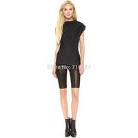 FREE SHIPPING 2014 summer new women trousers high waist Soft stretch PU leather knee stylish five pocket Slim shorts XS-XXL